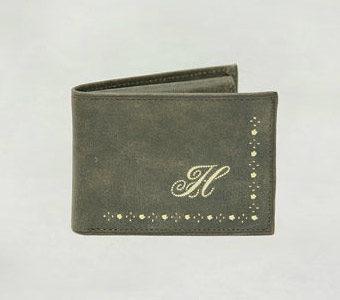 Geldtasche mit Federkiel Stickerei