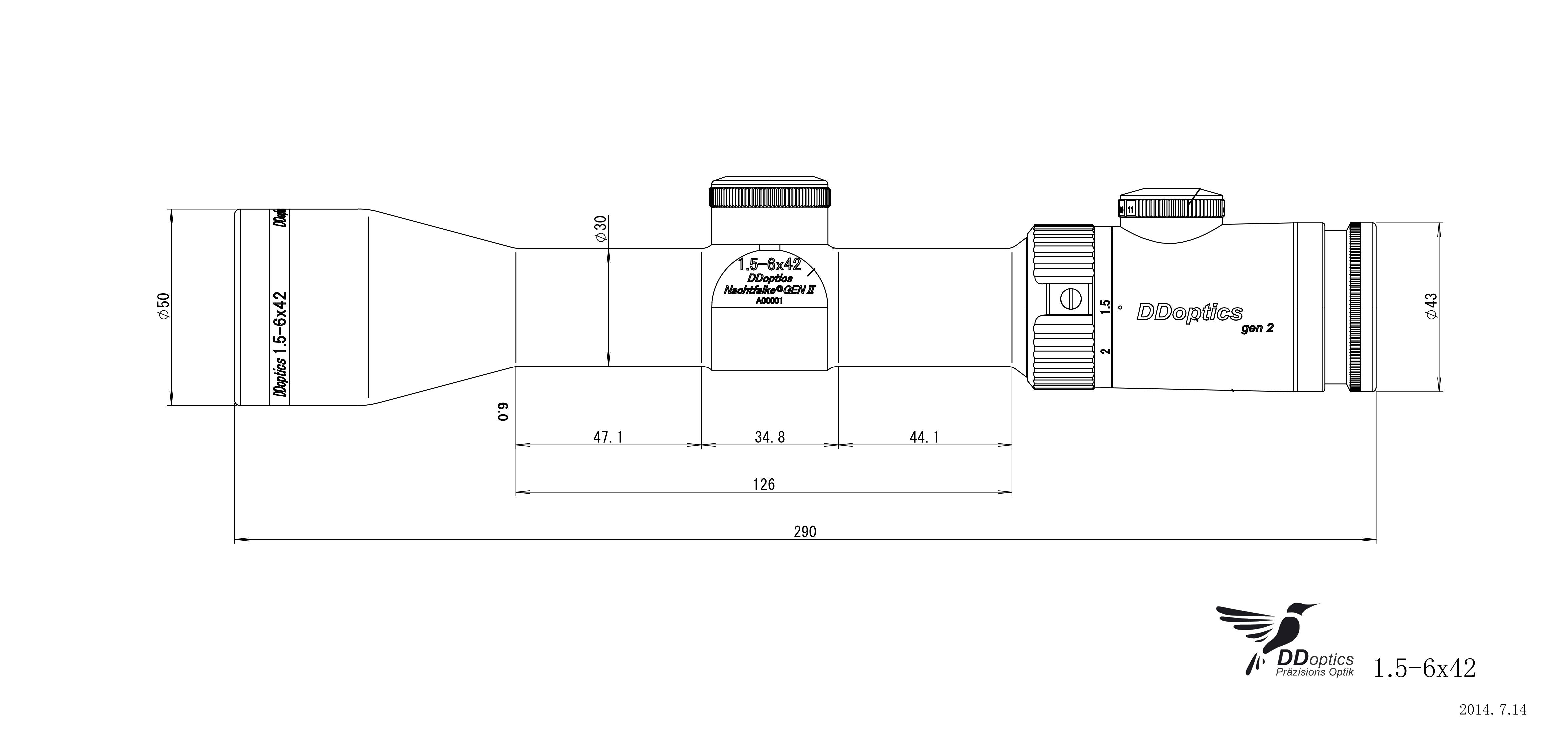 DDoptics 1,5-6x42 Zielfernrohr mit Duplex Absehen