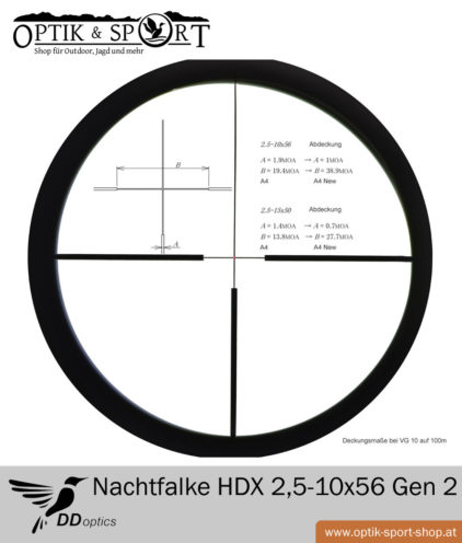 Zielfernrohr DDoptics Nachtfalke HDX 2,5-10x56 Gen 2