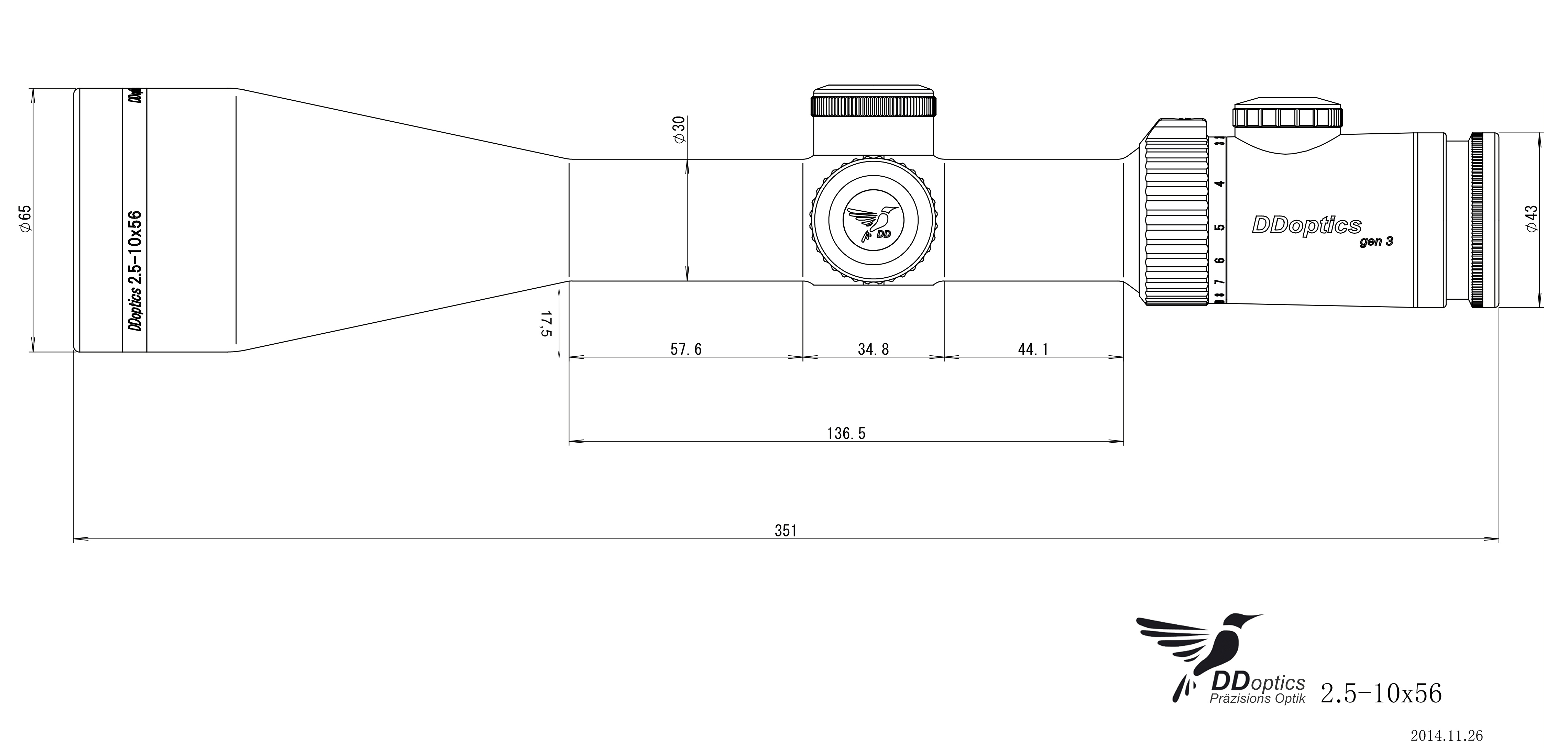 DDoptics Zielfernrohr 2,5-10x56