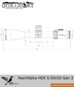 DDoptics Nachtfalke Tactical 5-30x50 Gen 3 Duplex