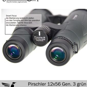 Fernglas DDoptics Pirschler 12×56 grün Gen 3 Detail vorne