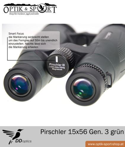 Fernglas DDoptics Pirschler 15x56 grün Gen 3 Detail vorne