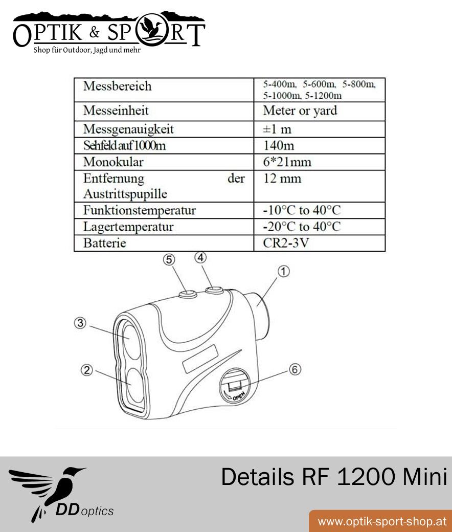 DDoptics Laser Entfernungsmesser RF 1200 Mini Technische Details