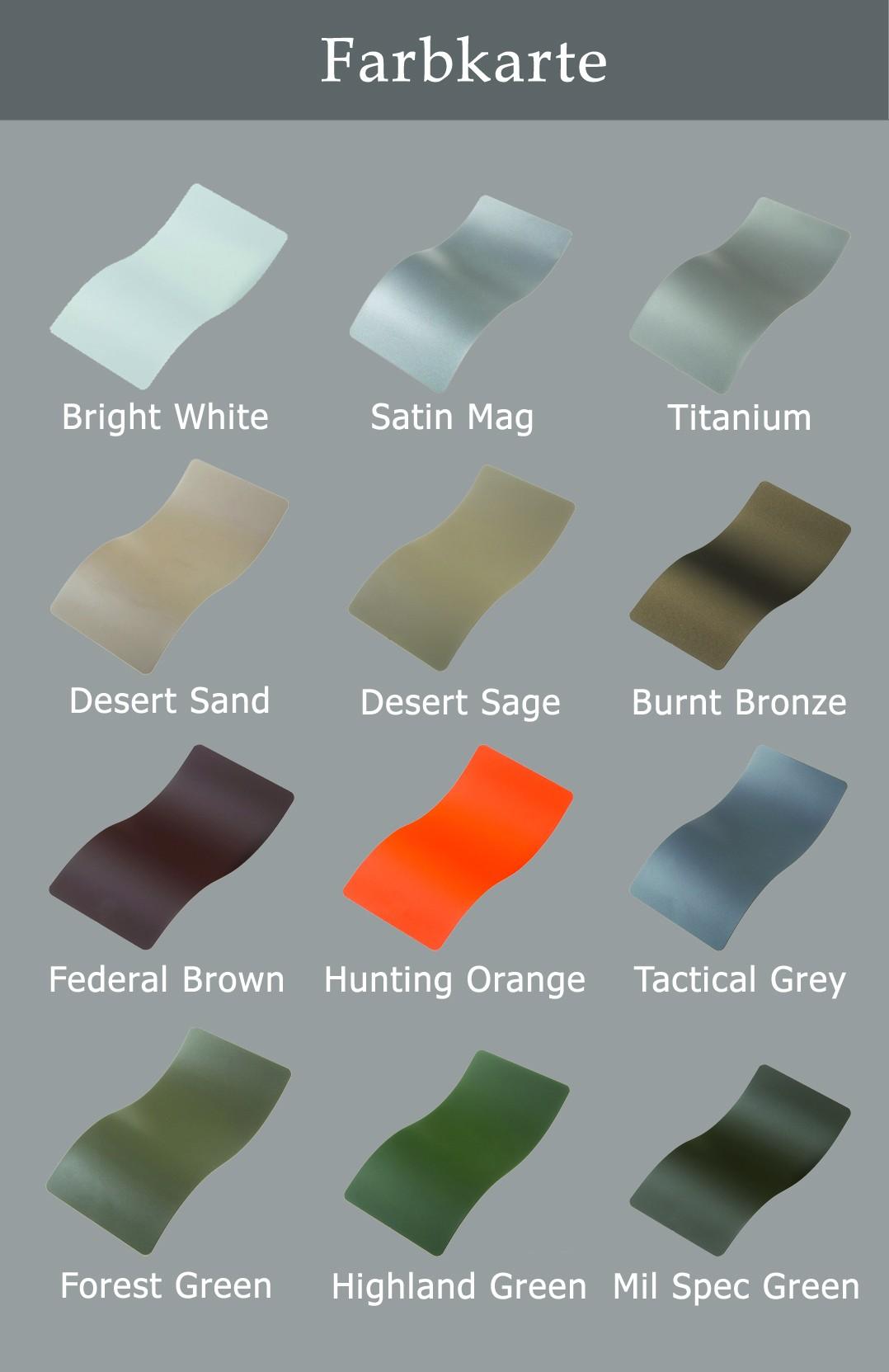 Farbkarte Keramic Beschichtung