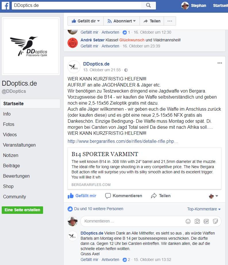 DDoptics Suche Bergara B14 Lieferant auf fb